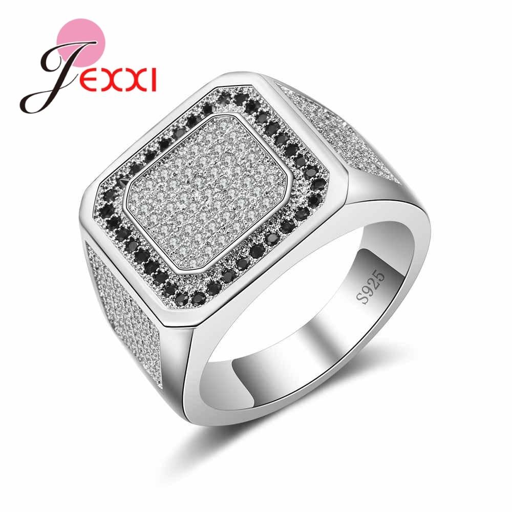 Nueva moda, anillos de compromiso, Plata de Ley 925 Vintage con cristales austriacos pavimentados, accesorios de joyería para fiestas para hombres y mujeres