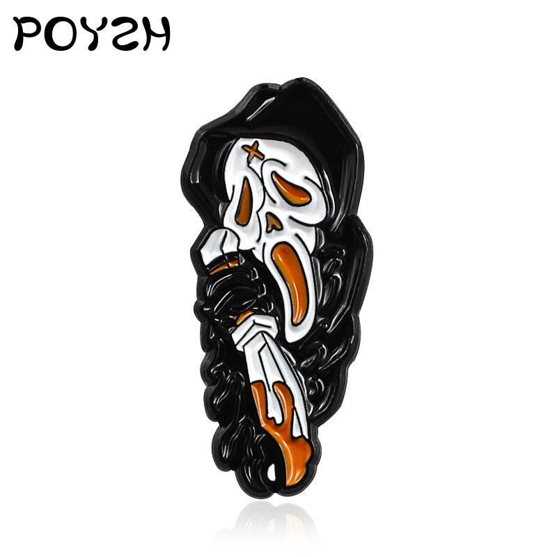 Krzyczy szkielet czarna szata duch broszka emalia Pin Horror gospodarstwa nóż śmierć Gothic znaczek przypinka dzieci prezent na halloween biżuteria