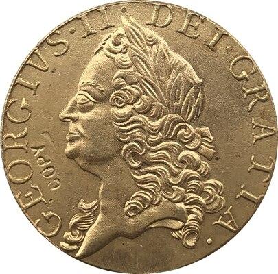 24-K banhado a ouro 1748 Reino unido 1 Guiné-George II moedas copiar