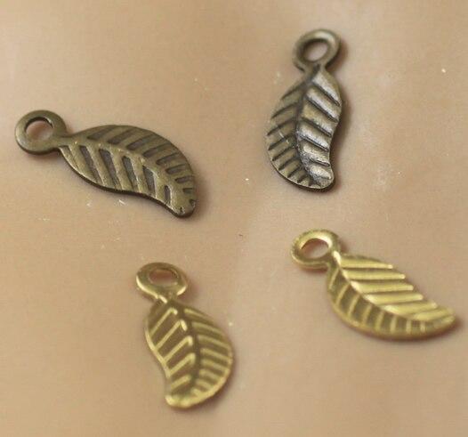 1000 piezas 3*9mm aleación hoja encantos/colgante de cobre con bronce antiguo/plateado, DIY joyería encontrar