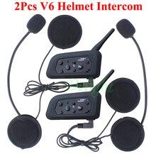2 pcs V6 Helmet Intercom 6 Riders Motorcycle Casco Intercomunicador Bluetooth Intercom Headset Walkie Talkie Helmet Interphone