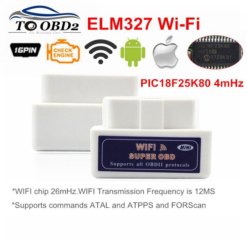 Envío Gratis coche OBD 2 Mini ELM327 v1.5 Wifi OBD2 II ELM 327 Wi-Fi Auto escáner Android Iphone eml327 odb escáner herramienta de diagnóstico