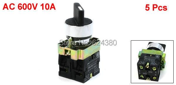 "1 bolsa (5 piezas) x 600 V AC 10A tres 3 posiciones DPST bloqueo giratorio Selector interruptor de enganche 22mm 7/8 ""2 n/O NO ZB2-BE101C"