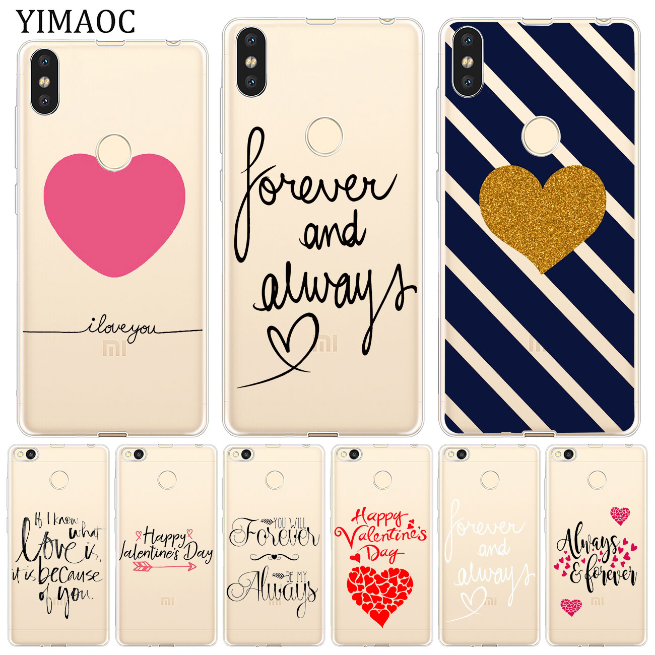 YIMAOC forever always Valentine's Day Soft Case for Xiaomi Mi 9 9T CC9 CC9E A3 Pro 8 SE A2 Lite A1 M