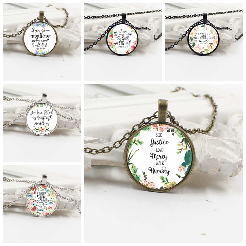 ZUWEI WU Don't worry about me with you necklace Isaiah 41 10 Bible Scripture Necklace Flower Inspirational Jewelry Christian Gif