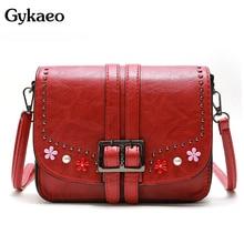 Gykaeo Luxury Handbags Women Bags Designer Small Flap Shoulder Bag Ladies Leather Floral Crossbody Messenger Bags Sac A Main