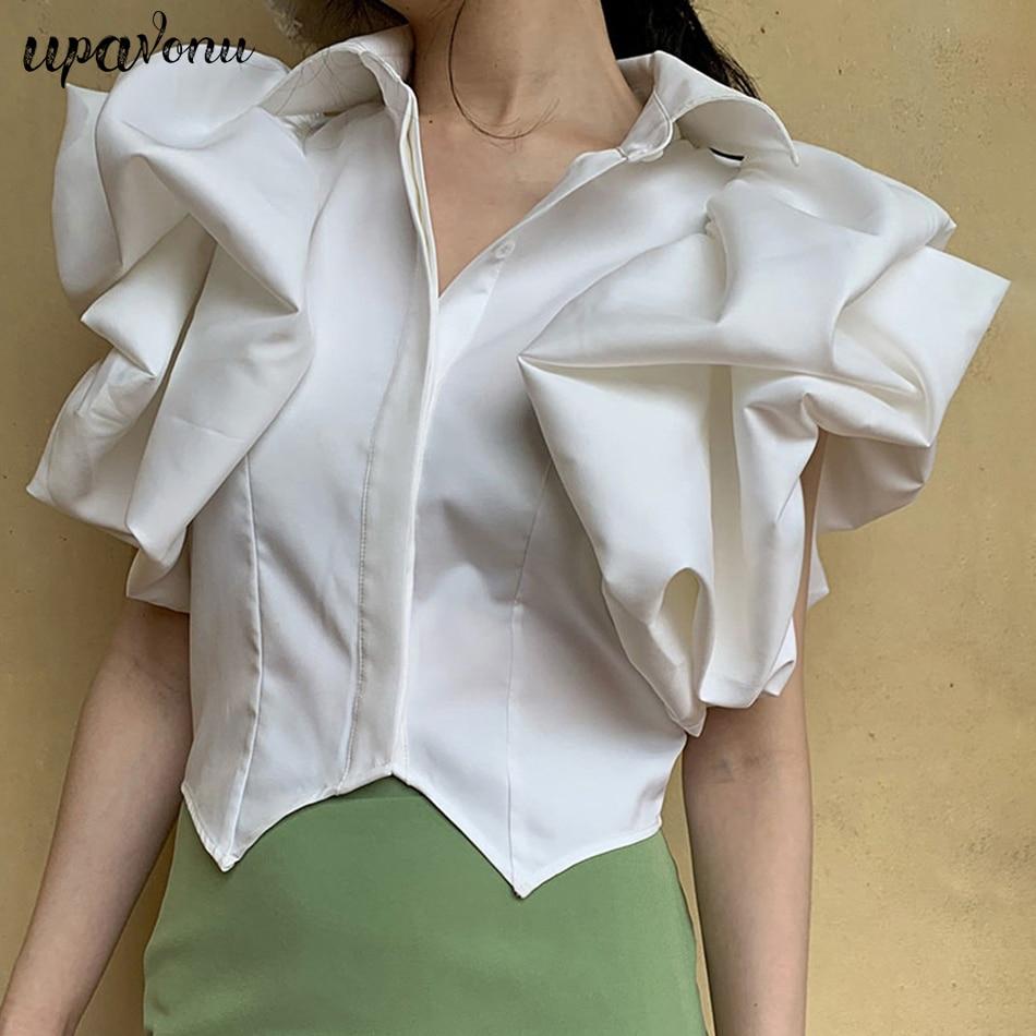 Summer new chic white green black blouse lapel short sleeve ruffled irregular hem shirt shirt women's fashion 2019