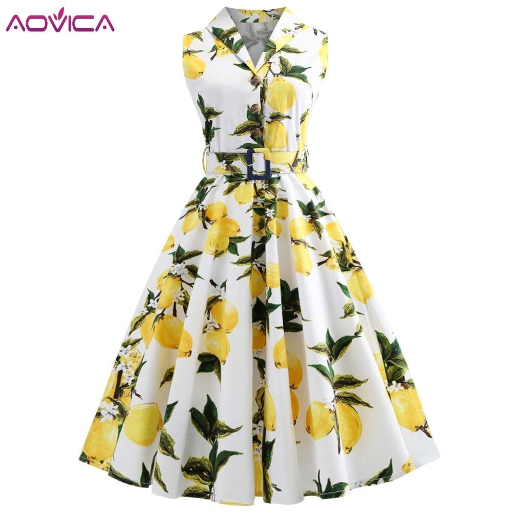 Aovica-vestido Retro de talla grande para mujer, vestido Retro estampado de limón con cinturón, botones y botones, elegante para fiesta y oficina de verano