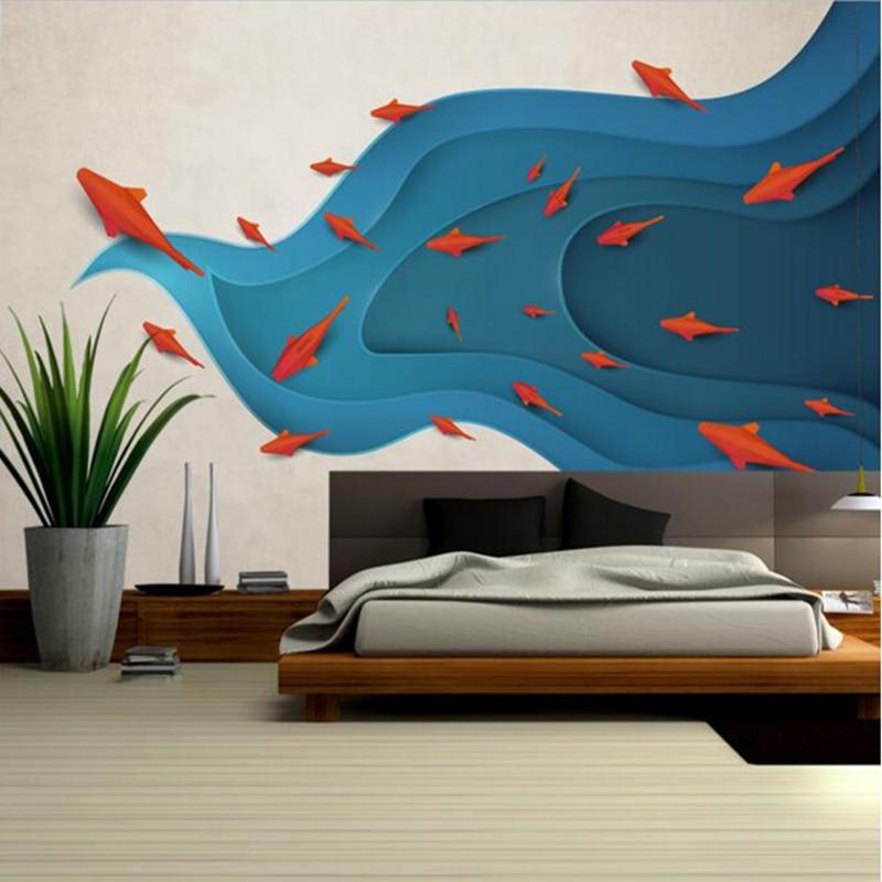 Papel tapiz Interior moderno minimalista abstracto peces niños papel tapiz murales de arte Ideas para dormitorio sala de estar Decoración Cocina