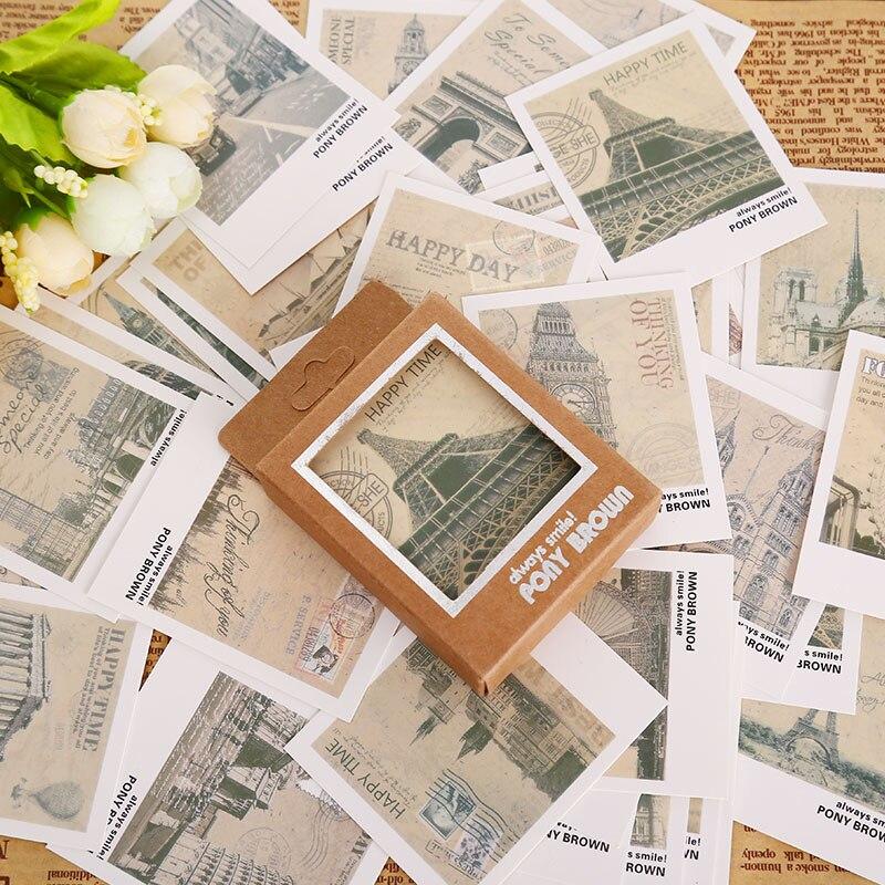Мини-открытка в ретро-Европейском стиле, 40 шт./кор., подарочная карта с надписью на день рождения