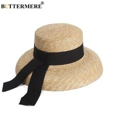 BUTTERMERE Sun Hat Womens Designer Straw Hat Summer Beach Sun Hat Lady French Retro Wide Brim Fashion Brand Female Hat