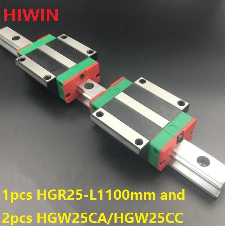 1 قطعة 100% الأصلي Hiwin خطي السكك الحديدية HGR25 -L 1100 مللي متر + 2 قطعة HGW25CA HGW25CC مشفه النقل ل cnc