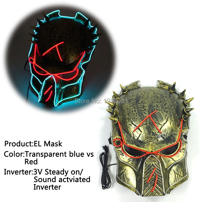 Glowing Film Predator mask Glowing EL Wire Mask Product Novelty Lighting for Theme Carnival Party Decoration
