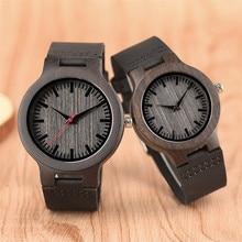 Cadran Simple bambou bois montre hommes bracelet en cuir femmes montres Quartz mode amoureux Couple horloge cadeau reloj mujer erkek kol saate