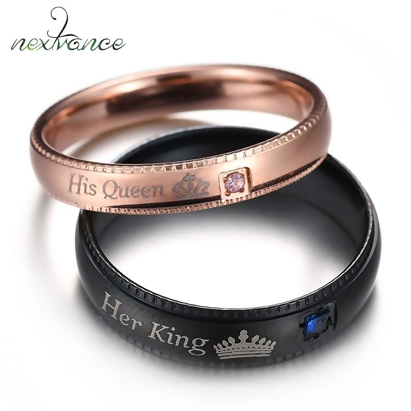 Nextvance Ihr König Seine Königin CZ Paar Ring Crown Design Band Ring für Frauen Männer Alyans Bajan Romantische Schmuck