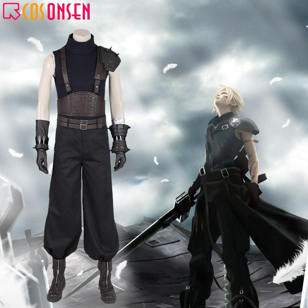 Juego Final Fantasy VII Remake Cosplay disfraz Cloud Strife negro uniforme adulto hombres Halloween traje COSPLAYONSEN