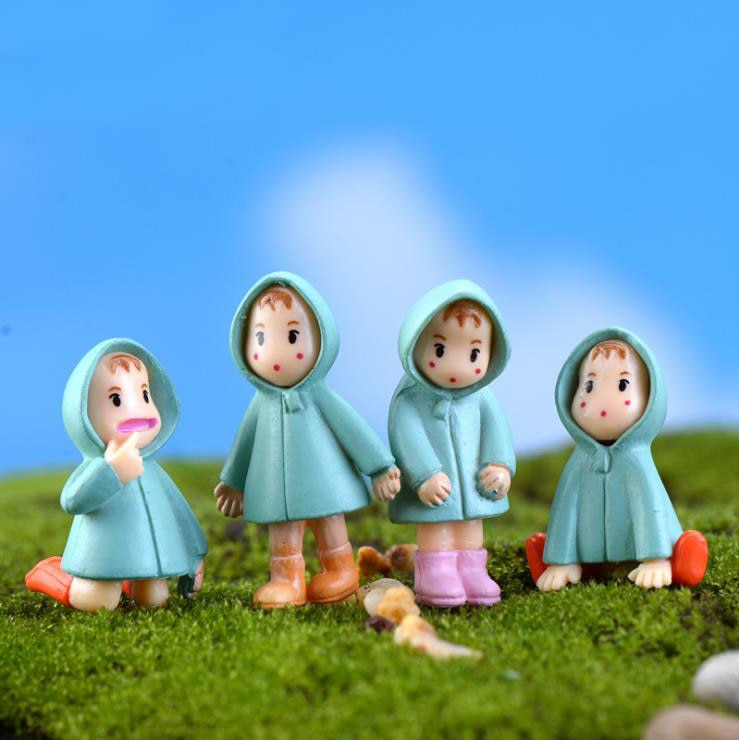 5pcs/set Random Miniature Figurines Girl Totoro Mini Fairy Garden Ornaments Cartoon People Resin Crafts Terrarium Ornaments E356