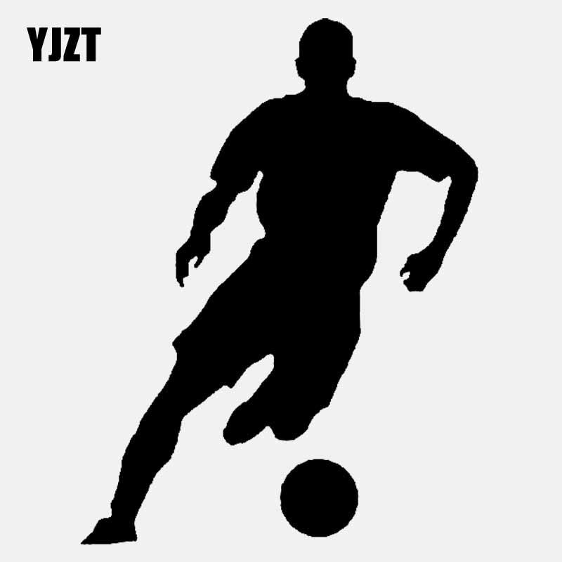 YJZT, 10,1 CM * 13,3 CM, plantilla de dibujos animados, silueta de jugadores de fútbol, pegatina de vinilo para coche, Etiqueta Negra/plateada C3-1569