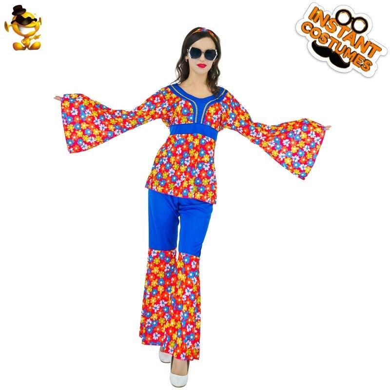 DSPLAY vestido de fantasía Hippie con flores de juego de rol para mujer, trajes de carnaval, nuevo diseño, disfraz Sexy para mujer para fiesta de disfraces