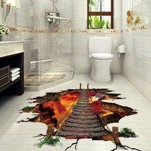 3D Gebrochen Wand Boden Aufkleber Wasserdichte Flamme Berg Brücke Wand Aufkleber Für Kinder Zimmer Home Decor Wohnzimmer Kunst Wandbild