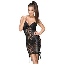 Frauen Kleid 2018 Sexy Kleid Club Tragen Elegante Seite Band Spitze Vinyl Leder Spaghetti Strap Push Up Mini Sommer Party kleider