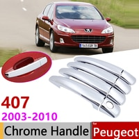for Peugeot 407 sw 2003~2010 Chrome Exterior Door Handle Cover Car Accessories Stickers Trim Set 2004 2005 2006 2007 2008 2009