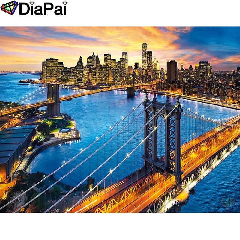 """DIAPAI 5D DIY diamante pintura 100% cuadrado completo/taladro redondo """"puente Ciudad"""" diamante bordado punto de cruz 3D decoración A21935"""