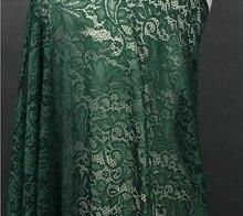 Kelly tissu en dentelle verte avec alencon fleuri, tissu en dentelle de cordon, tissu en dentelle verte avec des fleurs rétro