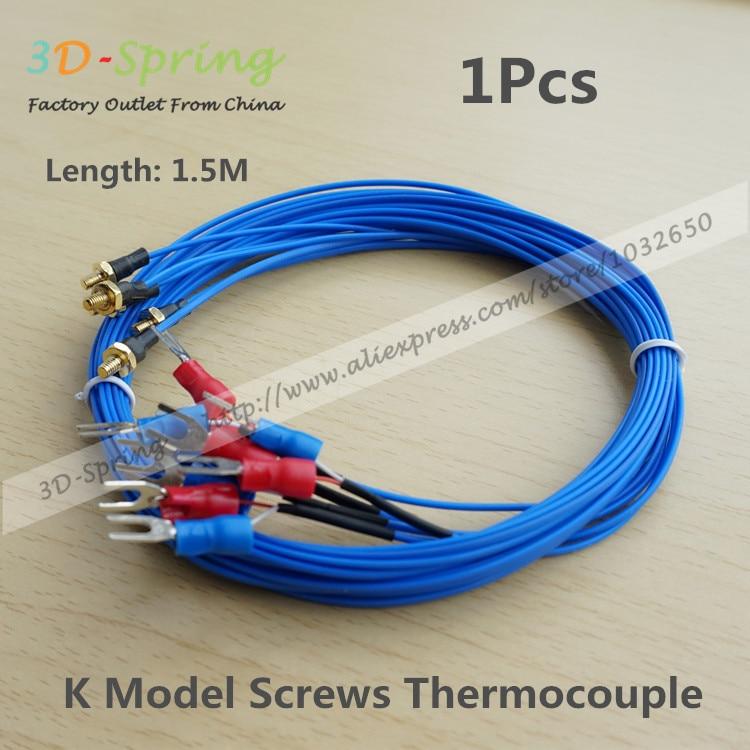 Температурный датчик температуры термопары K-type M3 M4, длина резьбы 0,5-2 м, 1 м для 3D-принтера, датчик температуры, измерительный кабель