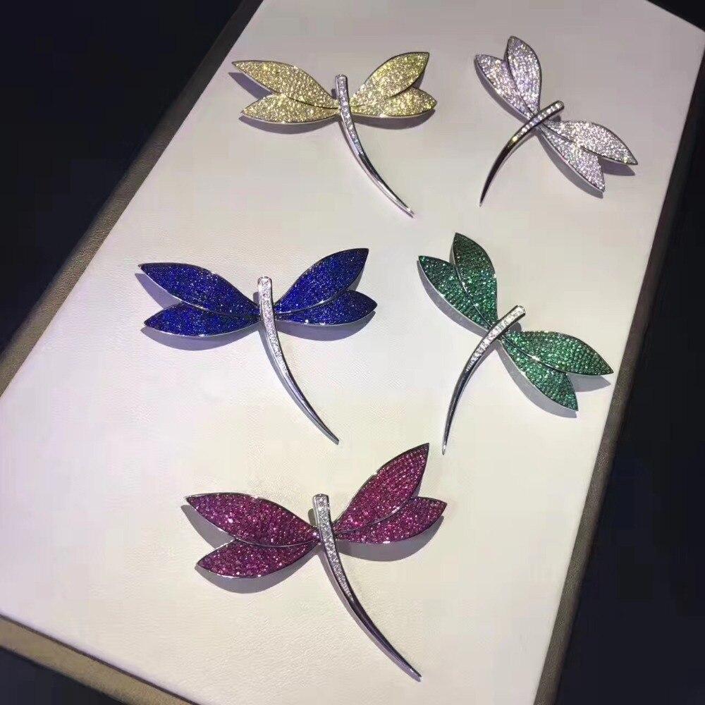 925 de plata de ley con circón cúbico broches de libélula blanco verde azul amarillo color mujeres finas joyas envío gratuito