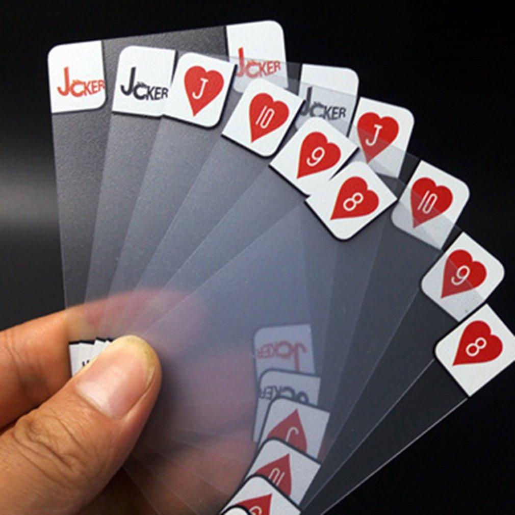 1 Juego de cartas de póquer de cristal transparente de plástico a prueba de agua mate cuatro caracteres tablero de naipes tarjeta de juego regalo creativo