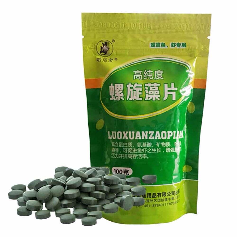 Tabletas de obleas de algas, vegetales, 100g Spirulina, bagre Tropical, alimento para peces a granel, AUG8