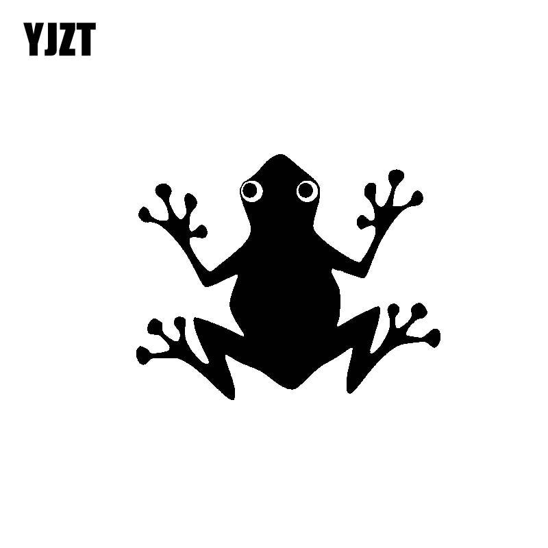 YJZT, 15,5 CM x 12,5 CM, bonito adhesivo de vinilo para coche con diseño de anfibios, adhesivos negros/plateados C19-0934