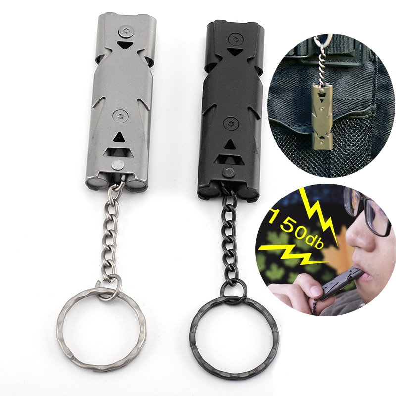 Outdoor EDC Survival Whistle High Decibel Double Pipe Whistle Stainless Steel Alloy Keychain Cheerleading Emergency Multi Tool