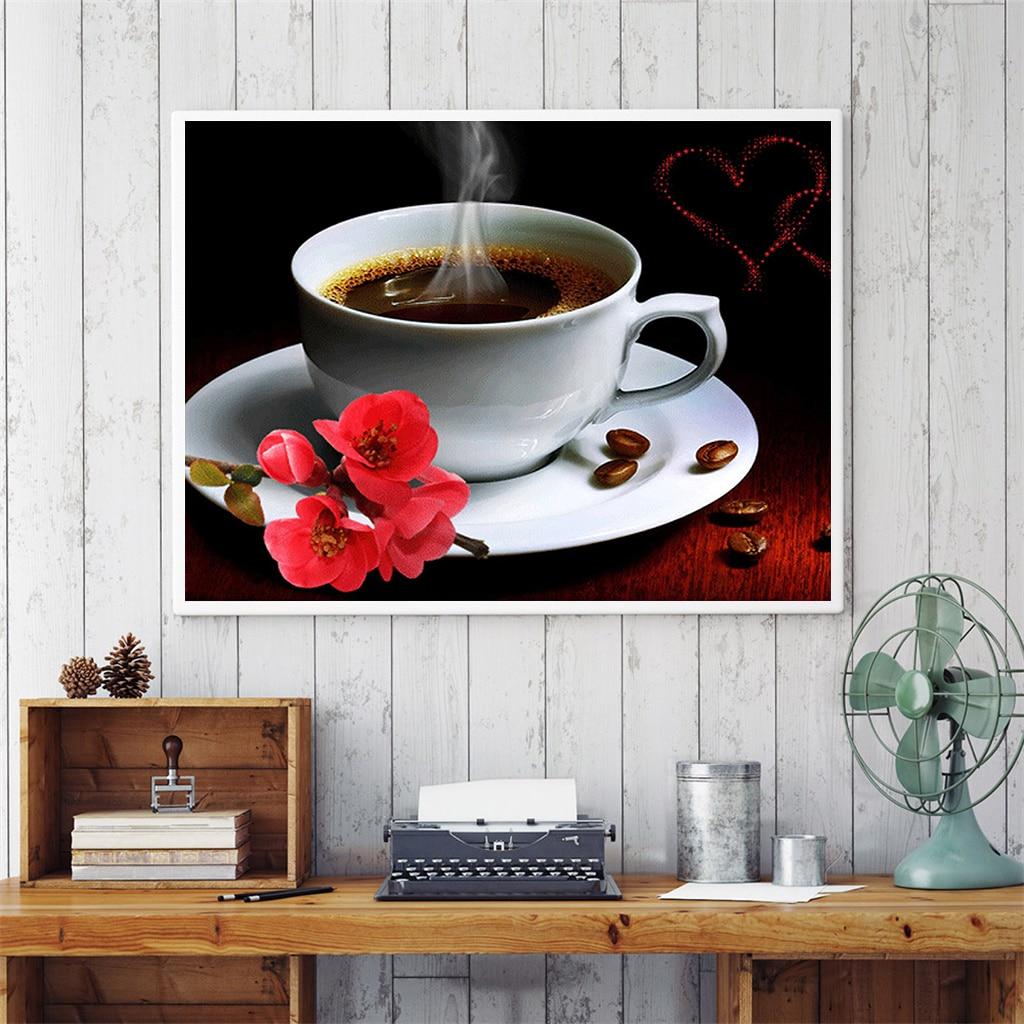 5D Circular Café Pintura Diamante DIY Completa Diamante Bordado Ponto Cruz Completa Rhinestone Embutidos de Decoração Para Casa