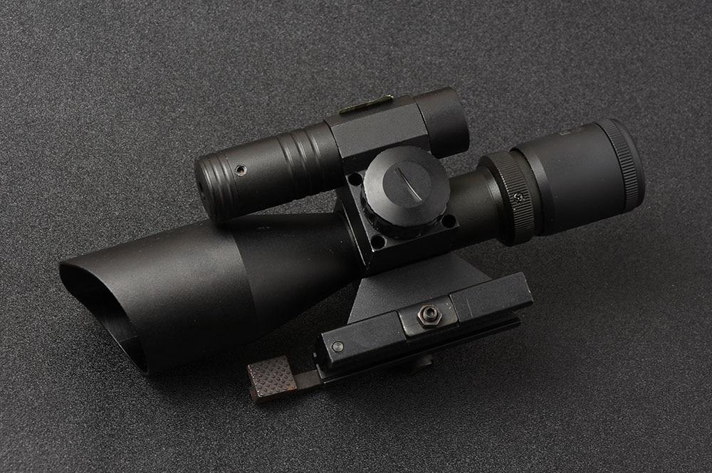 Caça 2.5-10x40 mil dot iluminação rifle escopo mira laser rifle escopo e lente verde esparta