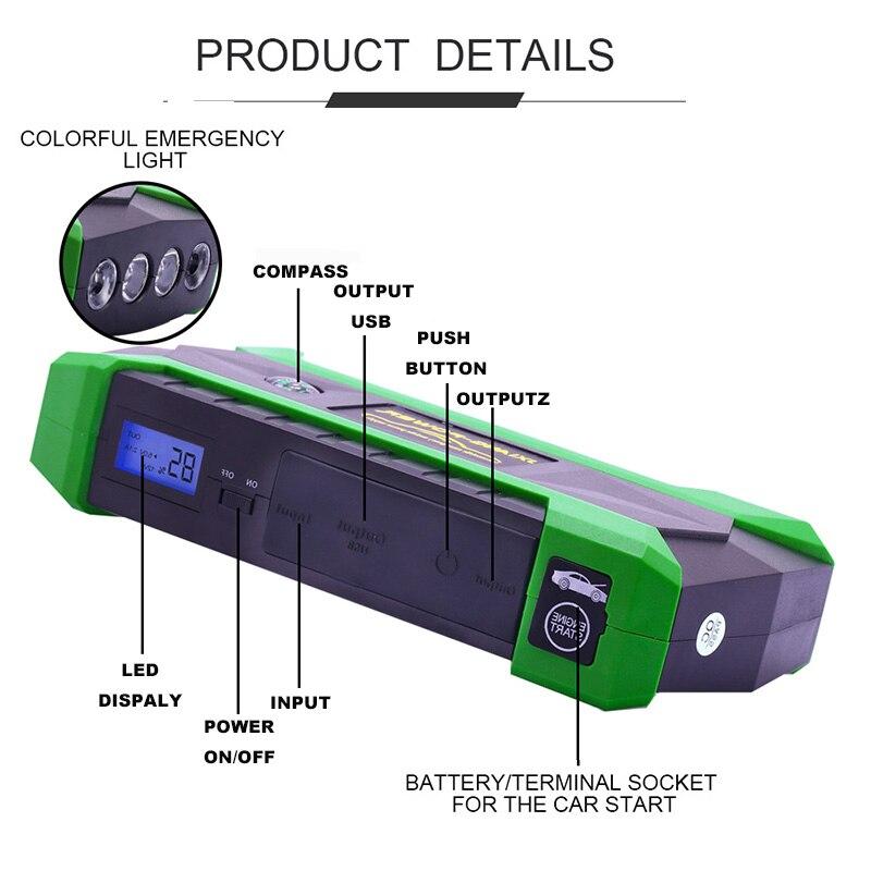 800A Auto Batterij Jump Starter 20000Mah Power Bank 12V Auto Emergency Start Apparaat Auto Batterij Booster Starten Apparaat