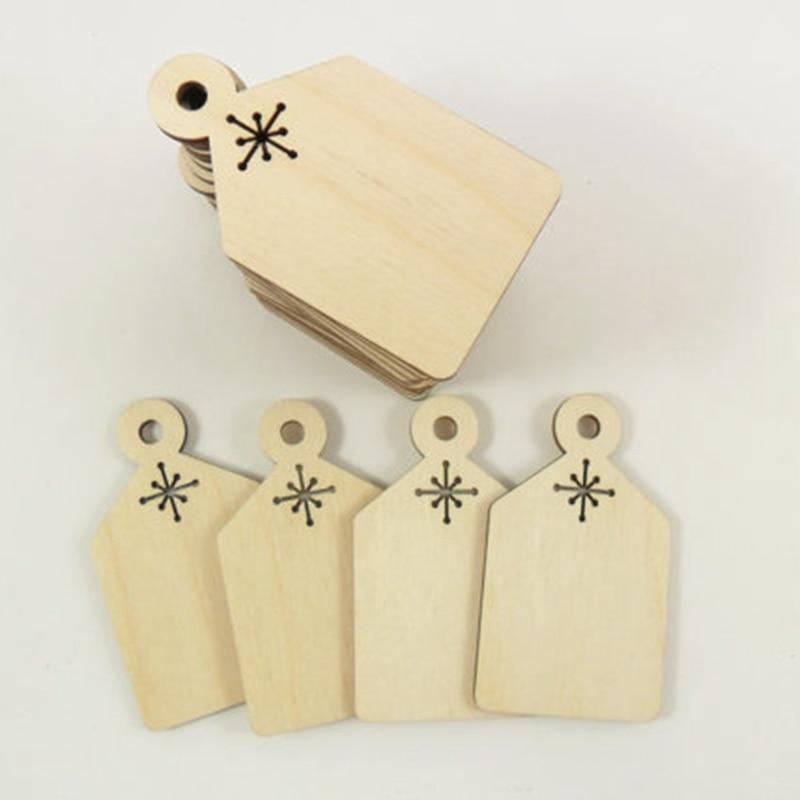 Corte láser de madera en blanco regalo/etiquetas de precio con agujero. suministros artesanales