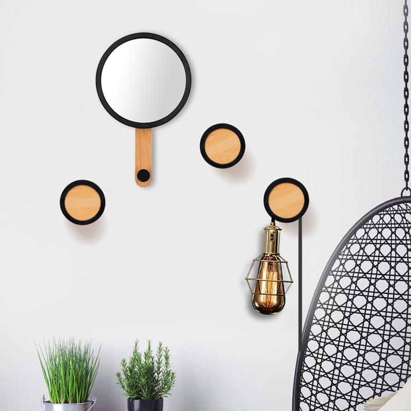 En bois tenture murale miroir crochets en bois patère sac à main chapeau écharpe parapluie cintre porte-clés rangement organisateur décor à la maison cadeau