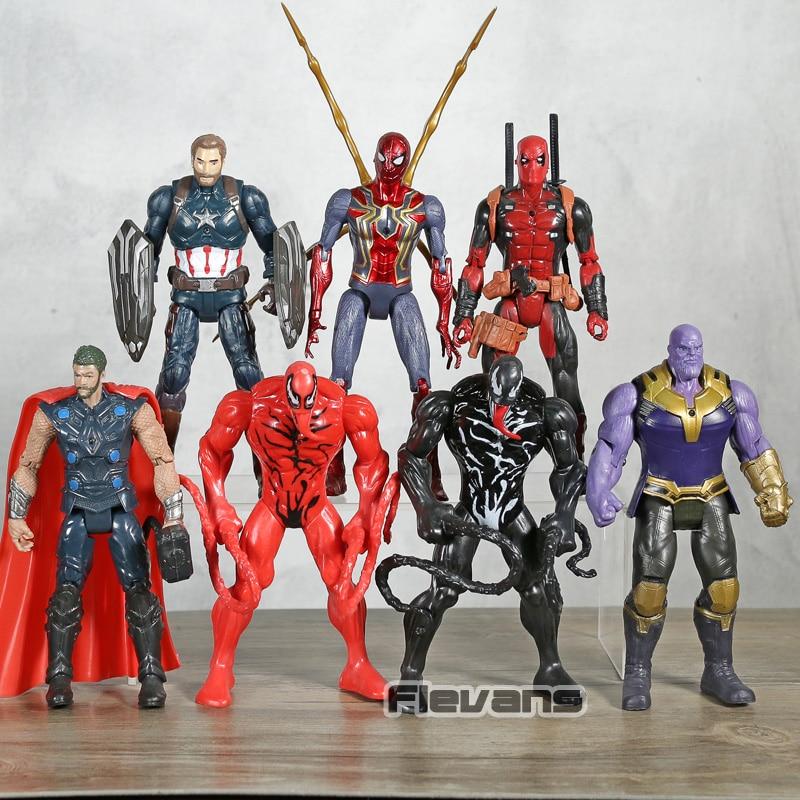 Capitán América Spiderman Thanos Deadpool Thor Carnage Venom superhéroe PVC figuras de acción juguetes 7 unids/set