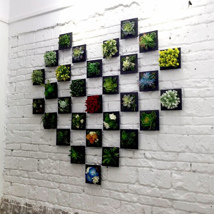 Black 3D succulent plants Imitation wood photo frame wall decoration home decor living Room