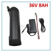 Haute qualité 36V E vélo batterie au Lithium 36V 8Ah avec bouteille deau boîtier en aluminium intégré 18650 cellule 15A BMS avec 42V 2A chargeur