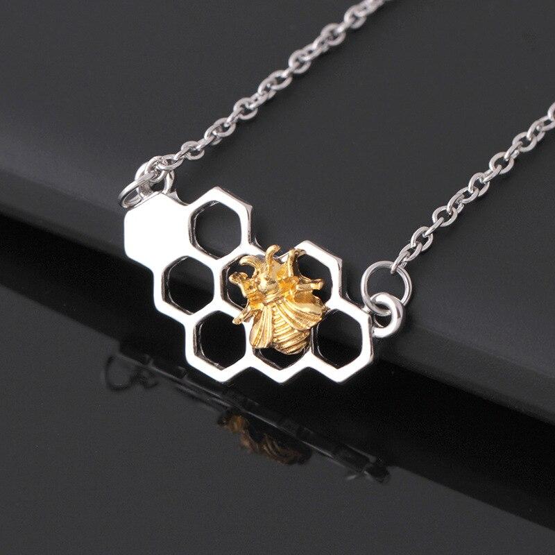 Dropshipping prata ouro abelha no favo de mel colares & pingentes moda animal geométrico colar charme personalizado jóias
