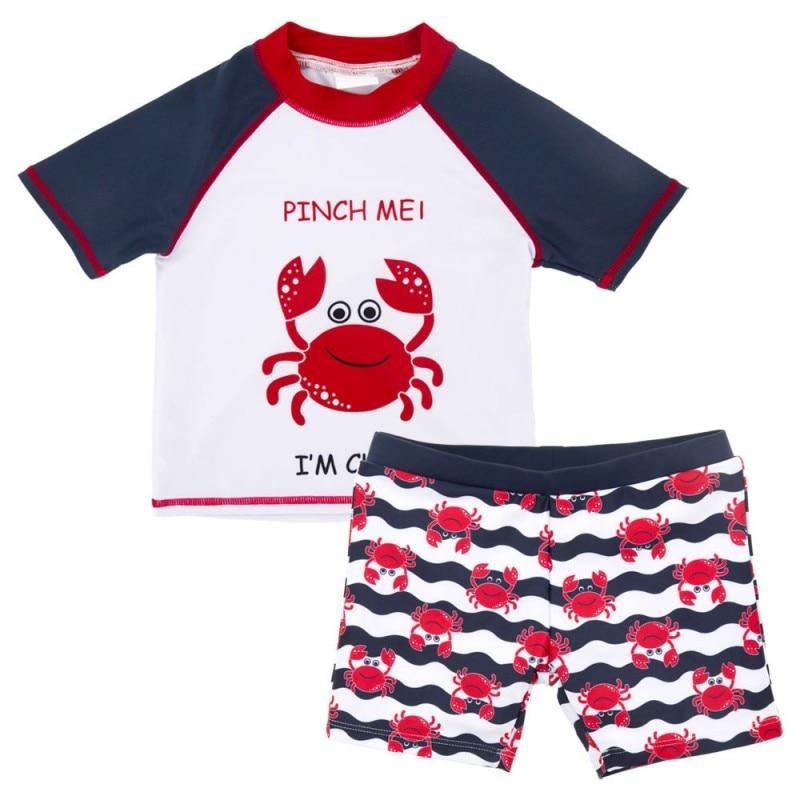 baby boys swimsuit short sleeve top+pants+hat 2pcs Crab swimwear infant toddler kids children Cartoon Bathing Suit