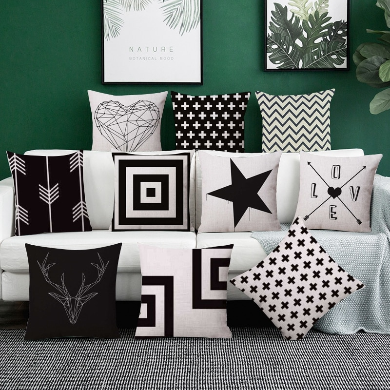Nordic Cotton linen Home Cushion covers Black Geometric pillow cover Sofa decorative pillow case car pillowcase throw pillows