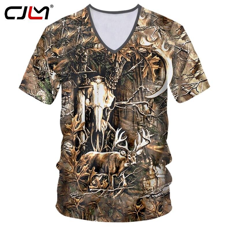 CJLM camiseta de moda con cuello en V para hombre, camiseta divertida con ciervos en el bosque en 3D, ropa de calle, camiseta para hombre, chándal de gran tamaño con hojas marrones
