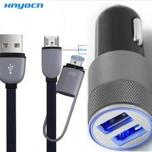 2 ports 3.1A double USB chargeur de voiture de téléphone portable + 2in1 3ft 8 broches et Micro USB à USB câble pour Iphone 6 Plus 5 s 4 s Samsung Galaxy S6