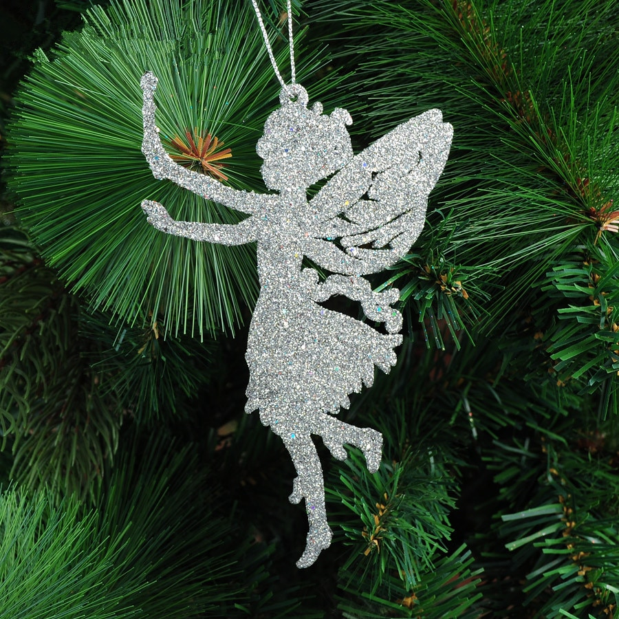 Christmas tree decorations supplies Size 14x9cm five colors angel shape xmas ornament Glitter powder Christmas tree pendant 10G