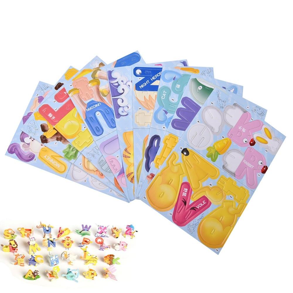 Juego de rompecabezas de papel educativo para niños, 26 unidades, diseño original...