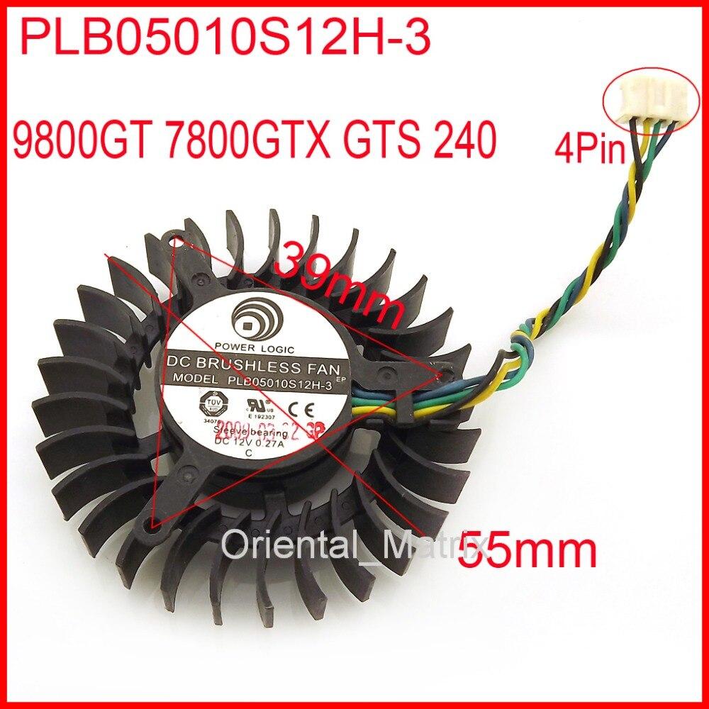 Ventilador sin escobillas CC PLB05010S12H-3 12V 0.27A 55mm 9800GT 7800GTX GTS 240 ventilador de refrigeración de tarjeta gráfica 4 cables 4Pin